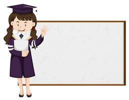 afgestudeerde student permanent door schoolbord