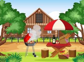 barbecue buitenshuis achtergrondontwerp vector