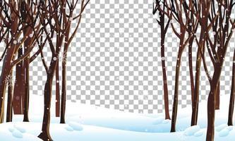 landschap op winterseizoen met sneeuw vector
