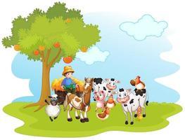 man met boerderijdieren vector