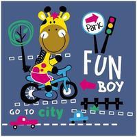 giraf op een fietsontwerp