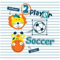 leeuw en giraf speelvoetbal ontwerp vector