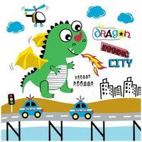 schattig drakenkarakter dat een stad aanvalt