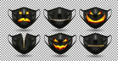 set zwarte halloween gezichtsmaskers