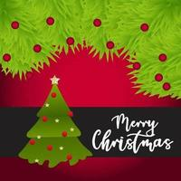 vrolijk kerstfeest met boom en slinger vector
