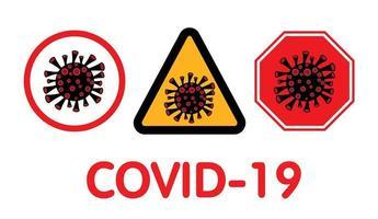 covid-19, coronavirus-tekens. vector