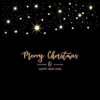 prettige kerstdagen en gelukkig nieuwjaar zwarte achtergrond vector