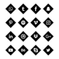 zwarte hoek sociale media solide pictogrammen vector