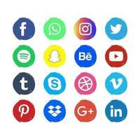 ruwe kleurrijke social media iconen vector