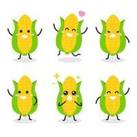 verzameling van schattige maïskarakters in verschillende poses vector