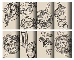 zwarte omtrek voedselpatronen hand tekenen set