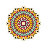 Indisch geel blauw kleurrijk mandalaontwerp vector
