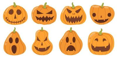 set cartoon stijl halloween pompoenen op wit