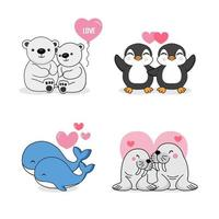 set van schattige dieren voor Valentijnsdag