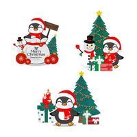 verzameling van kerstpinguïn in een kerstmuts