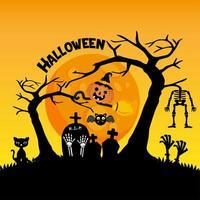 schattige begraafplaats voor halloween-wenskaart