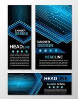 blauwe cyber circuit banner ontwerpsjablonen vector