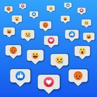 sociale netwerk reacties pictogramachtergrond vector