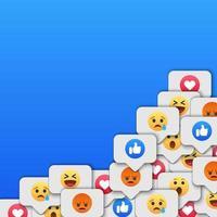 sociale netwerk reacties pictogramachtergrond. vector