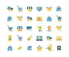 online winkelen platte pictogramserie