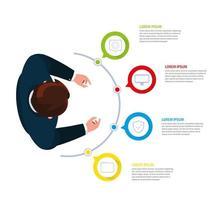 zakenman met infographic en bedrijfspictogrammen vector