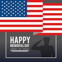 usa vlag met militaire man voor herdenkingsdag vector