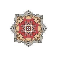 Indisch kleurrijk grijs en rood mandalaontwerp vector