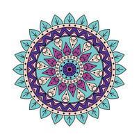 Indisch kleurrijk paars groen mandalaontwerp vector