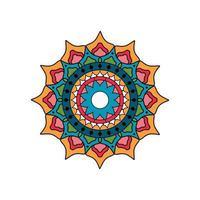 ronde turkoois en oranje mandala vector