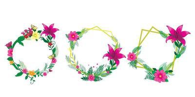 set floral frames vector