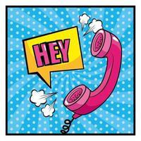 telefoon en onomatopee in pop-artstijl vector