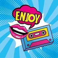 mond in pop-artstijl met cassettebandje