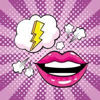 mond en bliksemschicht in pop-artstijl vector