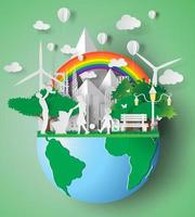 papierkunst van milieuvriendelijke familie vector