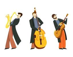 set van jazzmuzikanten.