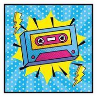 kleurrijke cassettebandje in pop-artstijl vector