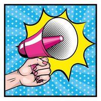 hand met een megafoon in een pop-artstijl vector