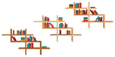 set van kleurrijke boeken op planken.