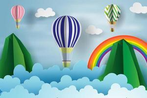 papierkunst van een ballon die over de lucht zweeft
