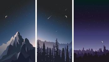 verzameling nachtelijke hemellandschappen. vector