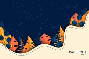 papier kunst tropisch palmbladeren ontwerp vector