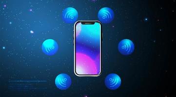 telefoon- en wifi-pictogrammen met smartphone-ontwerp vector