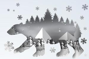 papierkunst van boslandschapssneeuw in ijsbeer