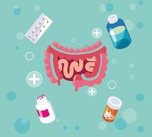 spijsverteringssysteem met medicijnen behandelingen vector