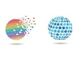 globale betegelde logo-afbeeldingen ingesteld vector