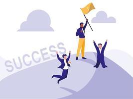 succesvolle zakenlieden vieren met winnaarvlag vector