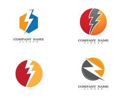 blikseminslag logo ontwerpset vector