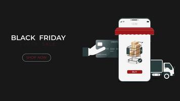 zwarte vrijdagverkoop online winkel met smartphone met digitale technologie vector