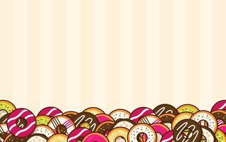 cartoon donuts langs de onderkant van gestreepte achtergrond vector