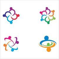 teamwerk logo afbeeldingen instellen vector